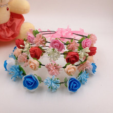 9 rose flower headband with adjustable ribbons,beautiful mixed colorful flower hairband headband
