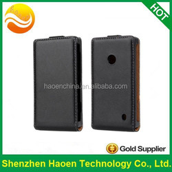 High quality Real genuine leather vertical flip cover case for Nokia Lumia 520