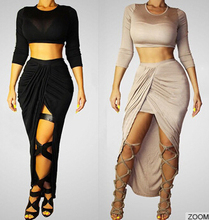 Walson 2015 Two Pieces Bandage Dress Sexy Women Clothing