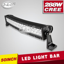 IP68 waterproof 288w 50'' curved offroad wholesale led light bar