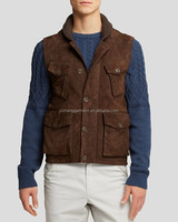 Brown color Suede Fishing Vest for Men