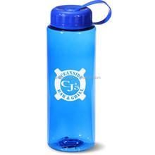 Water & Wood Outdoor Sports Grid Pattern Blue Clear Plastic Tea Water Drink Bottle 1000ml