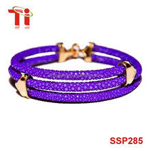 fashion jewelry 2015 mens purple stingray leather bracelet with rose gold plating 316L stainless steel clasp 8inch