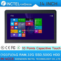 TouchScreen All In One PC celeron 1037u with 10 point touch capacitive touch with 2*RS232 Windows7 and Linux