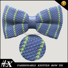 100% silk knitted bow tie with stripe