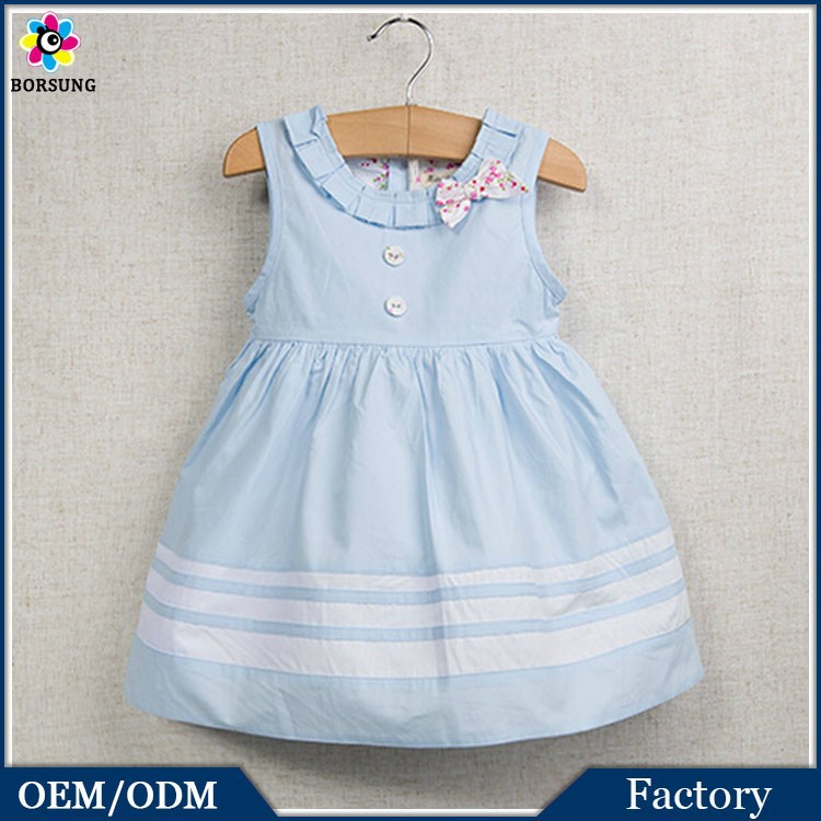 lmport China Products Cotton Frock Designs Blue Baby Boutique Clothing Fashion Girls Party Dresses