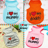 Wholesale i love mommy pattern dog Vest clothes vests for dogs and cats