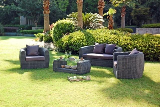 Disegno rotondo di vimini all'aperto mobili da giardino in rattan ...