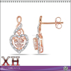 Rose Gold Plating 925 Sterling Silver Stud Charming Diamond Earrings