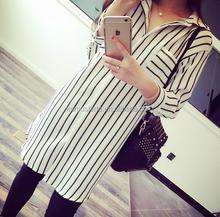 2015 Latest Korean Style Shirts For Women With Vertical Stripes Long Chiffon Women's Shirt