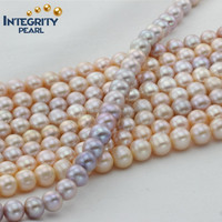 2015 more popular good luster 10mm AA near round pink pearl string