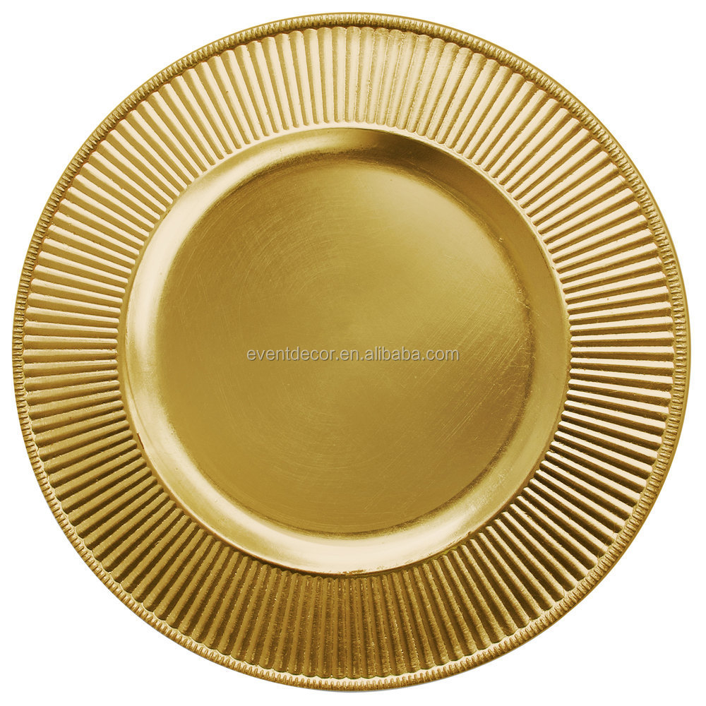 13 Quot Round Antique Gold Plastic Charger Plates For Party Supplies Buy Gold Charger Plates Gold