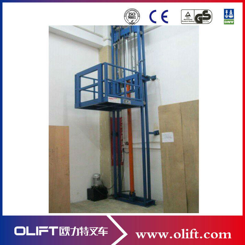 Hydraulic Vertical Lift : Hydraulic vertical cargo lift wall mounted table