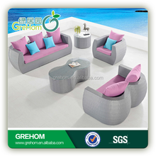 sofa set new designs 2015 pink color style home rattan furniture