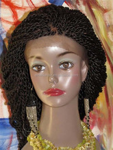 high quality synthetic hair kinky twist braided lace wig lace front wig
