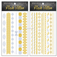 Artistic lovely gold leaf tattoos sticker gold and silver foil temporary tattoos