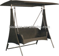 PE Rattan Wicker Two Seats Swing Chair with Canopy/Leisure Luxury Beautiful Garden Swing Chair-B490543