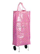 Wholesale cheap custom light pink foldable shopping trolley bag