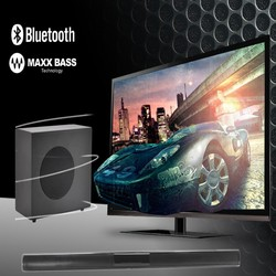 "2.1 SURROUND SOUND SPEAKERS ,SLIM SOUND BAR SPEAKER WITH 6.5"" WIRED SUBWOOFER , AUX/RCA/BLUETOOTH HOME THEATRE SYSTEM"