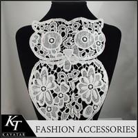 Crochet Owl Nylon Lace Applique/White Lace Patch For Dress Design