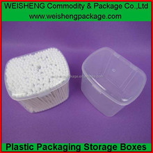 Popular&beautiful pp cotton tips case wholesale clear cosmetic cotton ball case makeup cotton boxes
