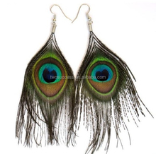 Fashion Design Hanging Handmade Big Eye Natural Peacock Feathers Earring
