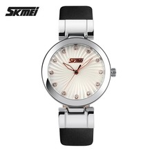 Fairy elegant diamond scale dial quartz watch,leather strap