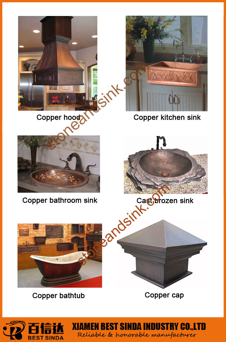 Pur cuivre cuisine hotte avec rev tement en acier for Revetement hotte cuisine