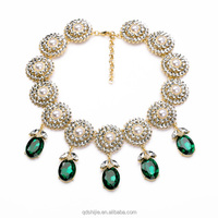 Factory jewelry Handcraft Perfume Women Crystal Flowers Emerald Pendants Necklace