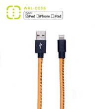 walnut professional mfi USB Leather charging and sync cable for iphone 6