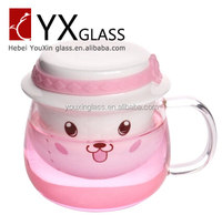 Hot-selling handmade Glass Tea Cup Set with ceramic infuser / glass tea mug set with ceramic filter and cap 350ml