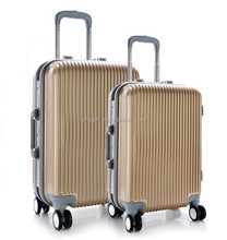 Aluminum mental suitcase / hardside luggage sky travel bag with 4 wheels