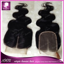 100% Human Hair Lace Closure Brazilian Virgin Hair Body Wave 4x4 Free , Middle, 3 Way Part Lace Front Closure With Baby Hair