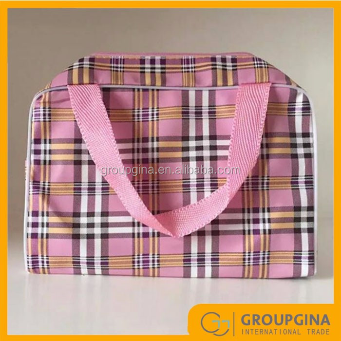 Hot Design Leather Striped Cosmetic Bag For Female