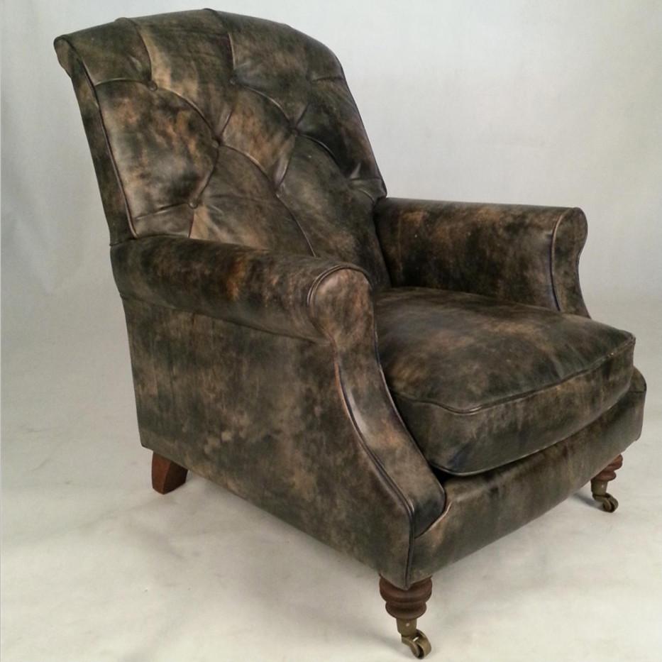 R tro traditionnel anglais chesterfield canap chaise en for Chaise de salon en cuir