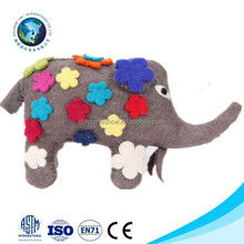 2015 Beautiful ICTI new fashion handmade wool felt elephant toy animal with colorful flower cute handmade felt toy