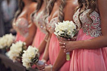 Hot Sale Chiffon Lace Coral Bridesmaid Dress(AC-1001)