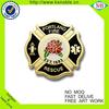 custom design flower logo gold plating enamel badge