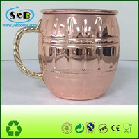 Solid Copper Hammered Barrel Mug ;moscow mule solid copper mugs