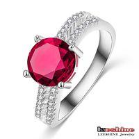 Red Round Zircon Pave Cristal Women Wedding Ring Band Designs 18K Platinum Plated CRI0249-B