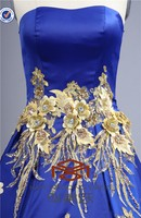 NEW!!!High-end Customized Evening Dress HMY-E0033 A-Line Royal Blue Satin Embroidered Golden Appliqued Quinceanera Dress