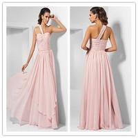 2015 High quality Bridesmaid Dresses Long Sheath/Column One shoulder Chiffon Bridesmaid Dress