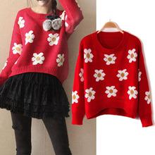 2014 mujeres calientes de la venta del otoño del resorte de moda de manga larga del o-cuello Floral Pullover sudadera suéter, Moda géneros de punto 8693