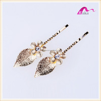 Fashion Metal Gold Crystal Flower Decorative Hair Clips Hairpins For Bridal Accessories
