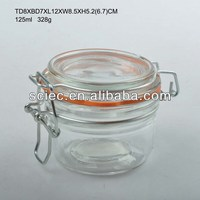 125ML 4oz food storage jar with seal lids and metal clip