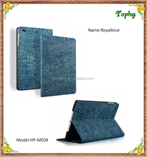 For ipad mini Stand Case Blue Cowboy Grain Folio Leather Fold Tablet Smart Cover