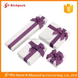 Purple ribbon cardboard packaging gift box customized jewelry box
