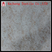 White 3d ribbon embroidery net fabric for top wedding princess dress
