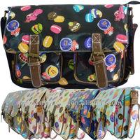2015 trendy ladies cupcake cakes oilcloth canvas designer kids school bag for girls