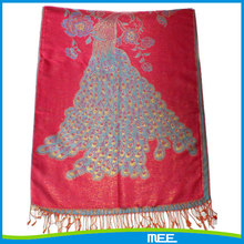peacock pattern pashmina with fringe
